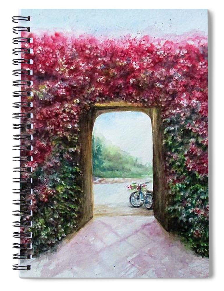 Bike Spiral Notebook featuring the painting Garden Rose by Natalja Picugina