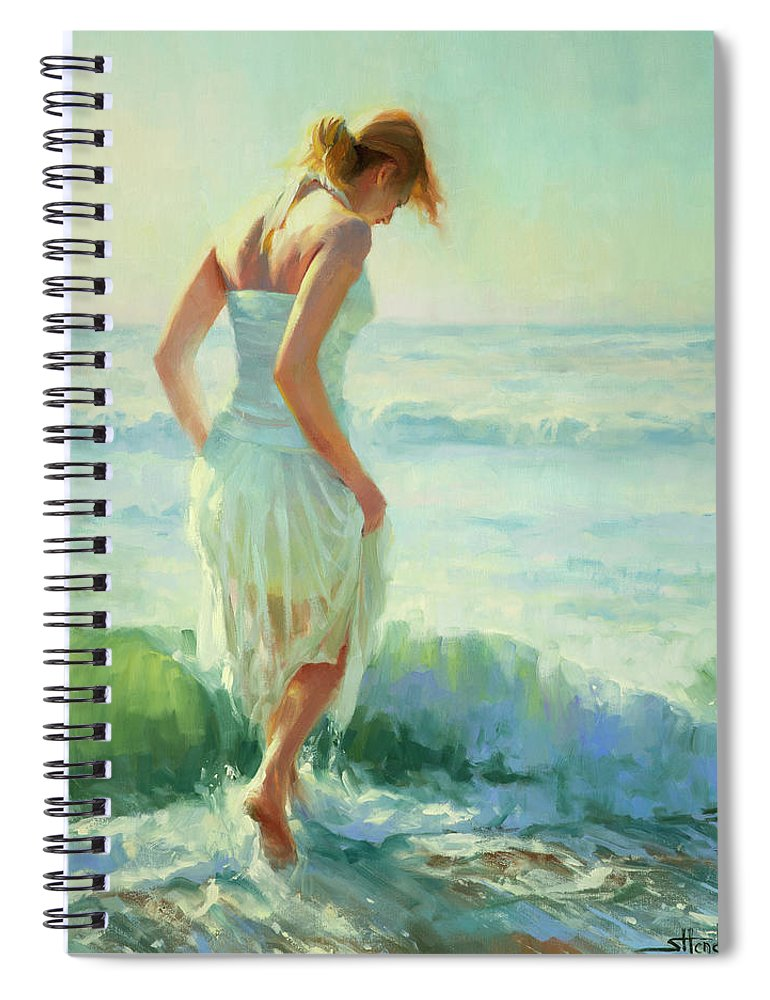 Seashore Spiral Notebook featuring the painting Gathering Thoughts by Steve Henderson