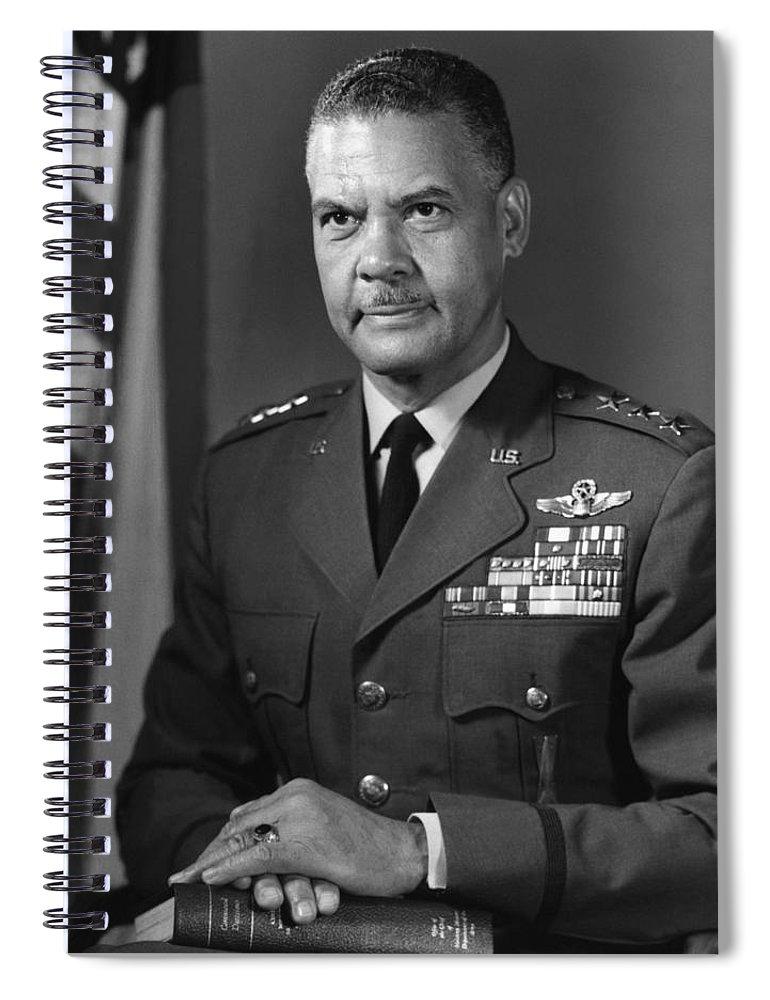 Benjamin Davis Spiral Notebook featuring the photograph General Benjamin Davis by War Is Hell Store
