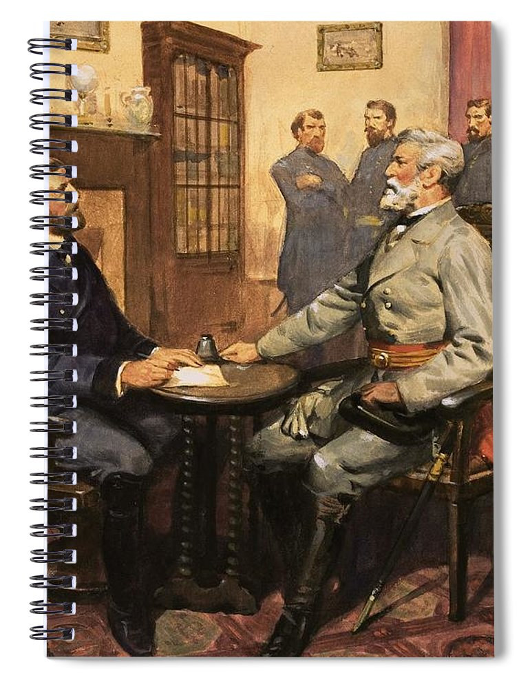 General Grant Meets Robert E. Lee By English School (20th Century) Great Commanders: Hero Of The Southland. General Grant Meets Robert E. Lee. America; Army; Soldiers; American; Flag; American Civil War; Robert E Lee; General Grant; Surrender; Confederate; Union; Us Spiral Notebook featuring the painting General Grant Meets Robert E Lee by English School