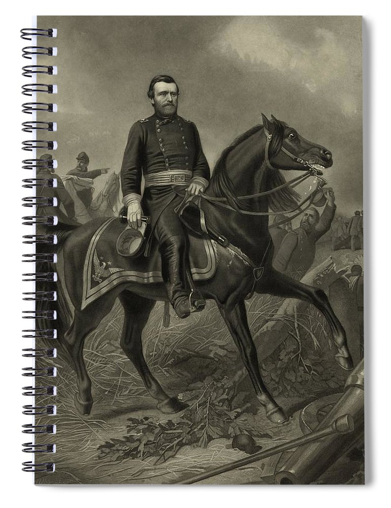 Civil War Spiral Notebook featuring the painting General Grant On Horseback by War Is Hell Store