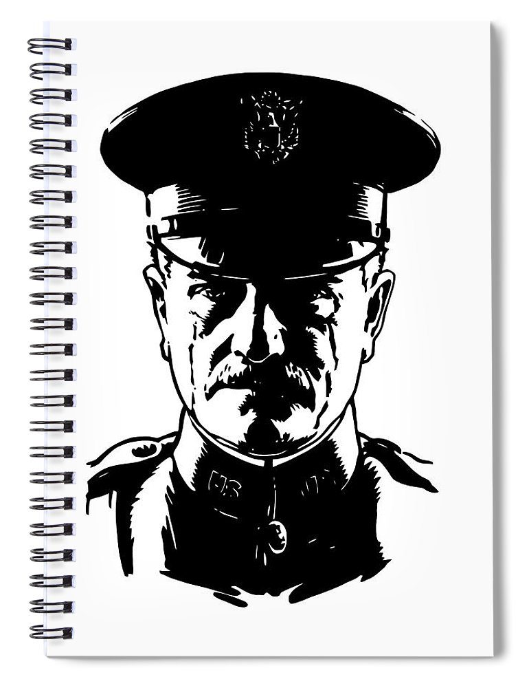General Pershing Spiral Notebook featuring the digital art General John Pershing by War Is Hell Store