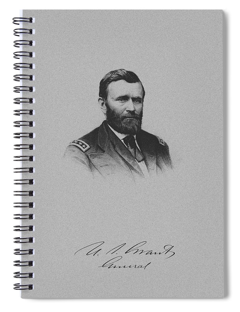 General Grant Spiral Notebook featuring the mixed media General Ulysses Grant And His Signature by War Is Hell Store