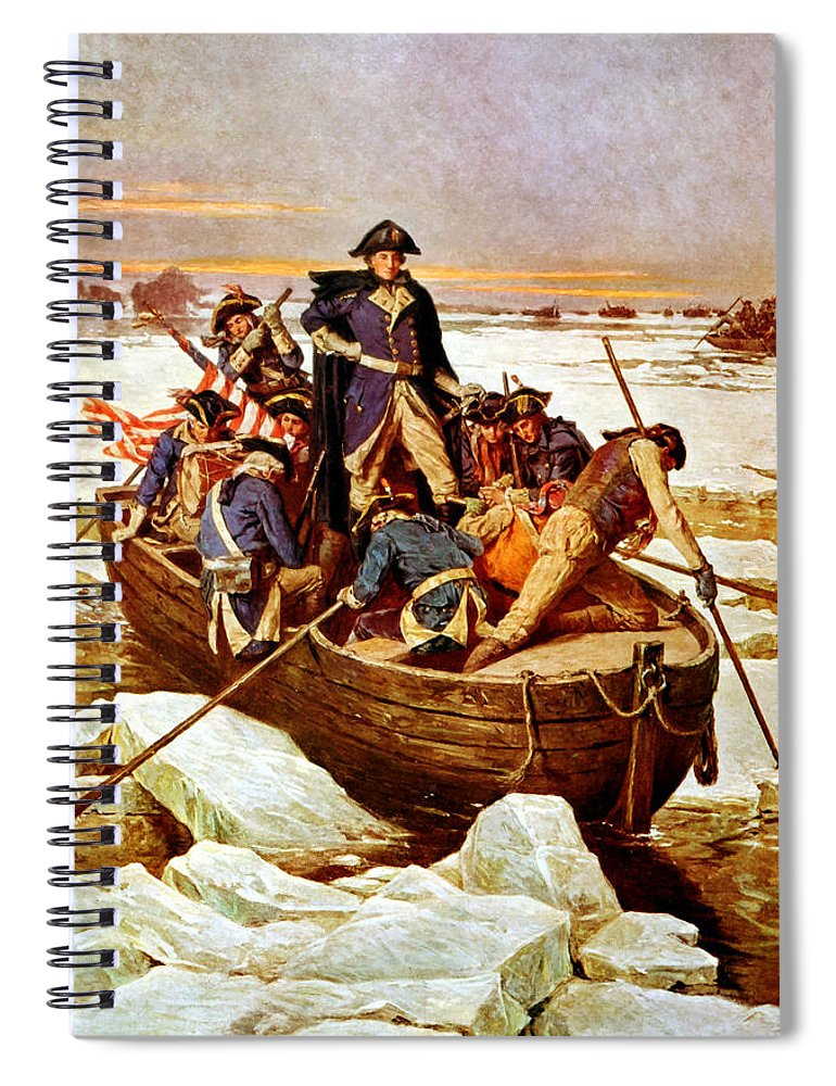 George Washington Spiral Notebook featuring the painting General Washington Crossing The Delaware River by War Is Hell Store