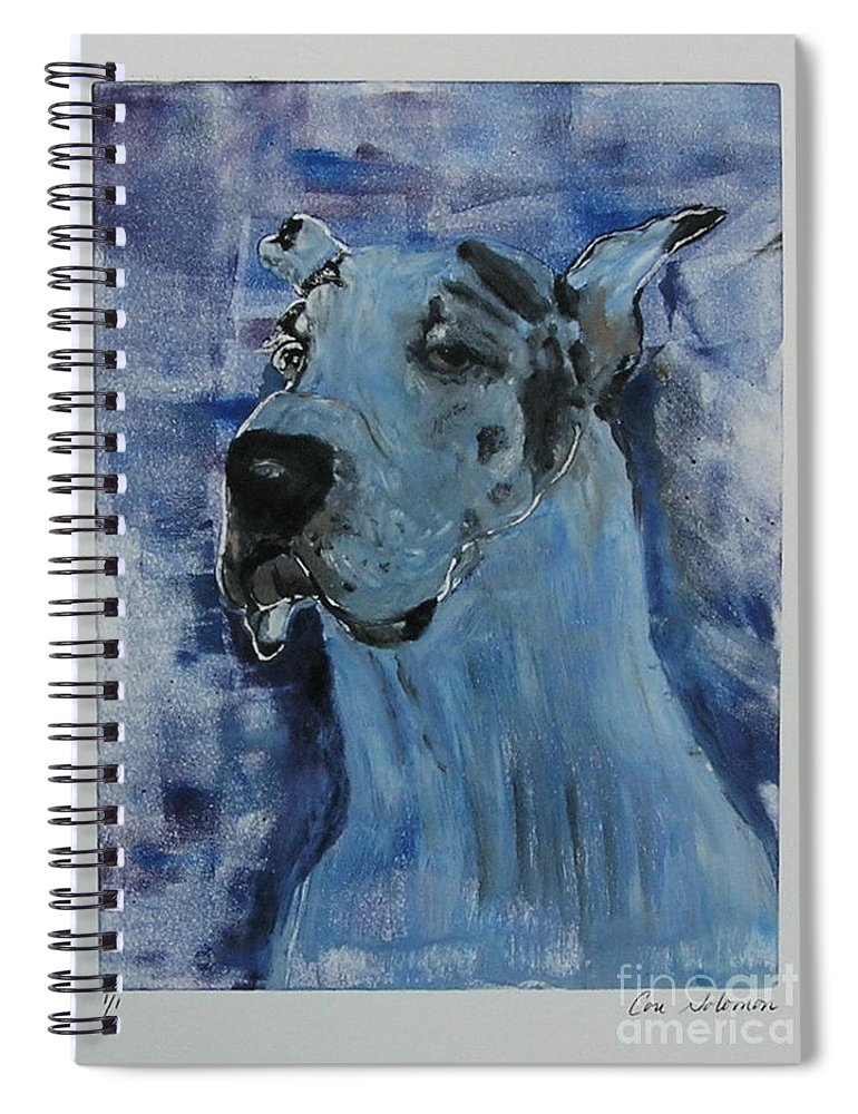 Great Dane Spiral Notebook featuring the mixed media Gentle Giant by Cori Solomon