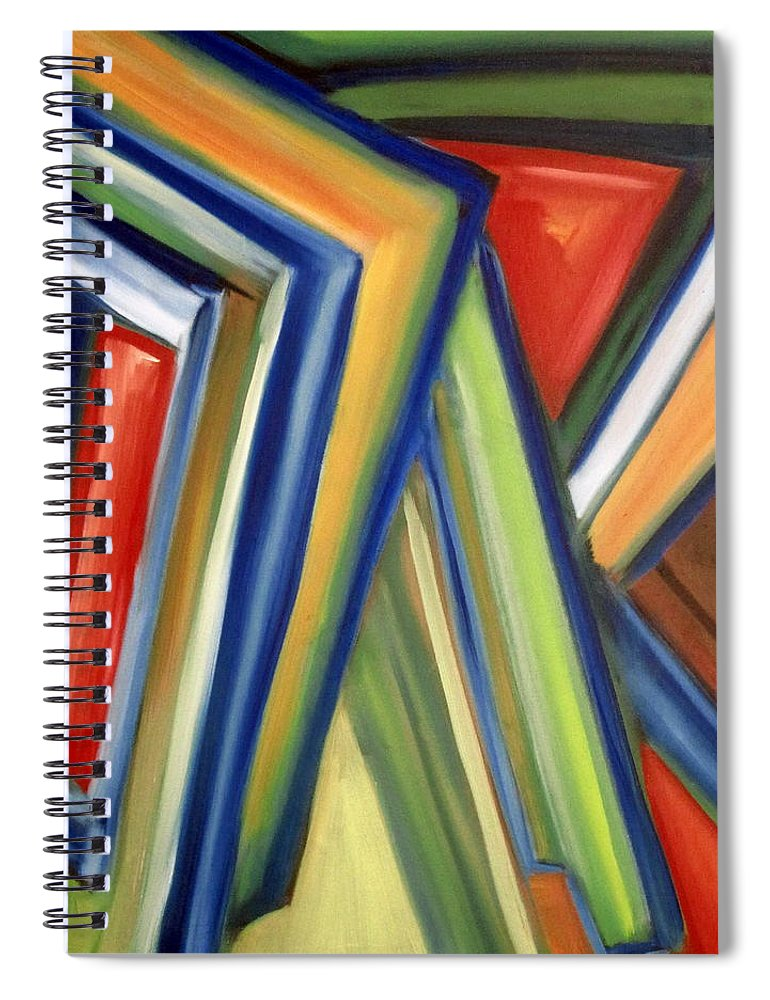 Rectangles Spiral Notebook featuring the painting Geometric Tension Series V by Patricia Cleasby