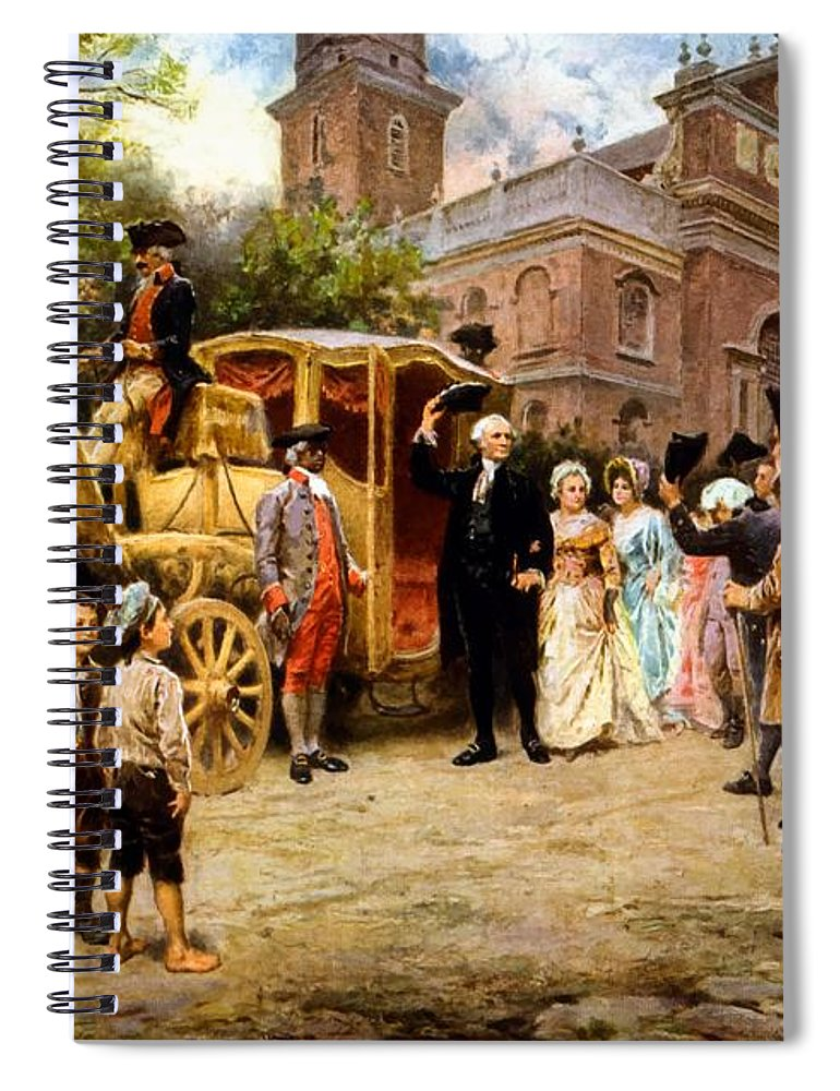 George Washington Spiral Notebook featuring the painting George Washington Arriving At Christ Church by War Is Hell Store