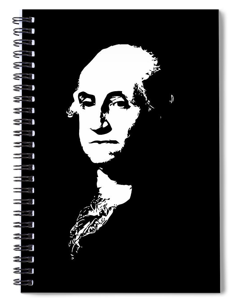 George Washington Spiral Notebook featuring the digital art George Washington Black And White by War Is Hell Store