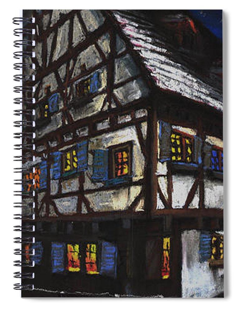Pastel Spiral Notebook featuring the painting Germany Ulm Fischer Viertel Schwor-Haus by Yuriy Shevchuk