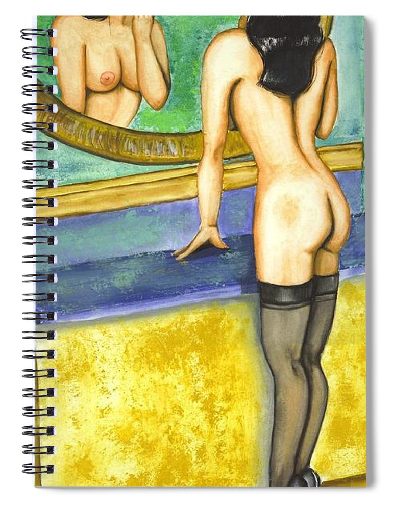 Figure Spiral Notebook featuring the painting Getting Ready by Scarlett Royal