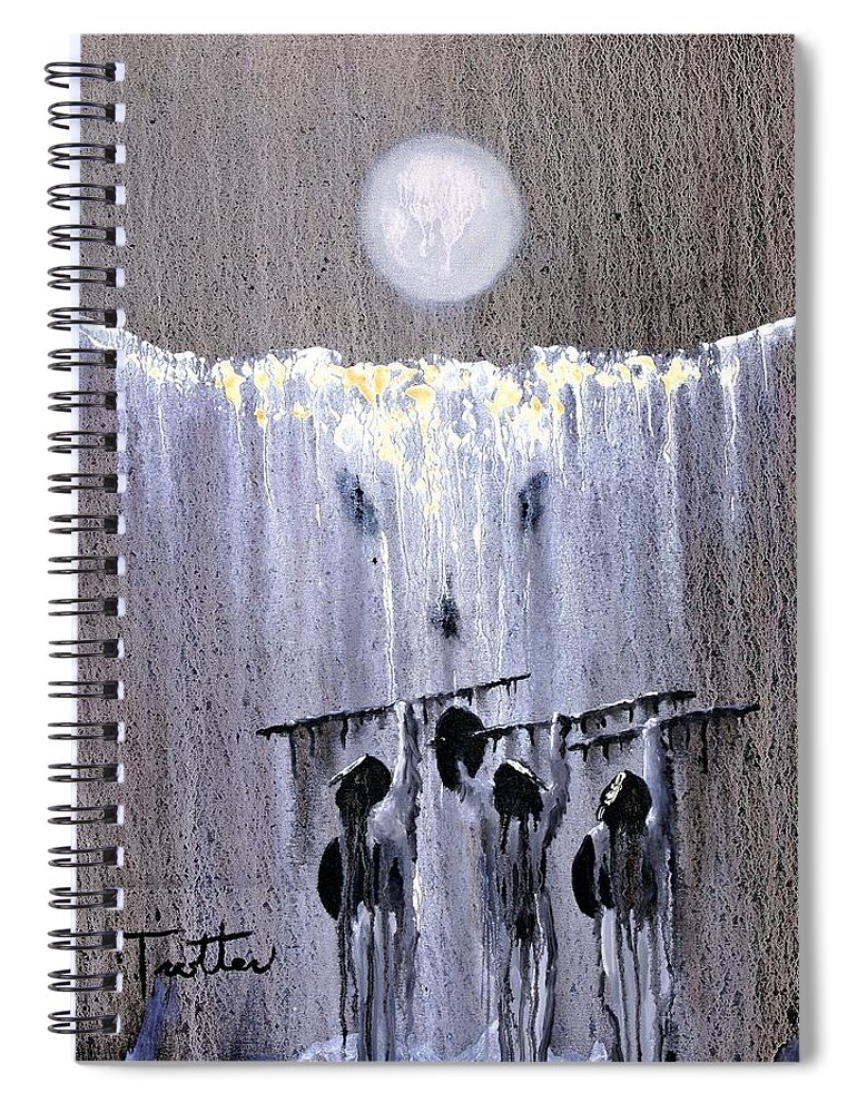 American Indian Spiral Notebook featuring the painting Ghost Dance by Patrick Trotter