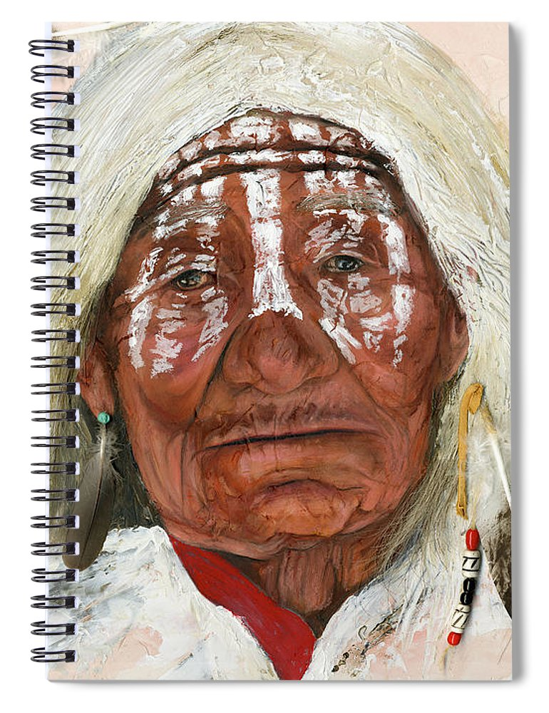 Southwest Art Spiral Notebook featuring the painting Ghost Shaman by J W Baker
