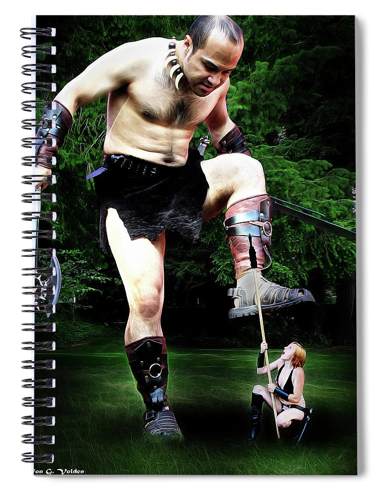 Giant Spiral Notebook featuring the photograph Giant Vs Amazon by Jon Volden