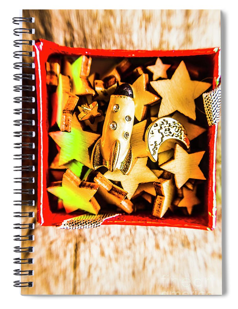 Astronomy Spiral Notebook featuring the photograph Gift Boxes And Astronomy Toys by Jorgo Photography - Wall Art Gallery