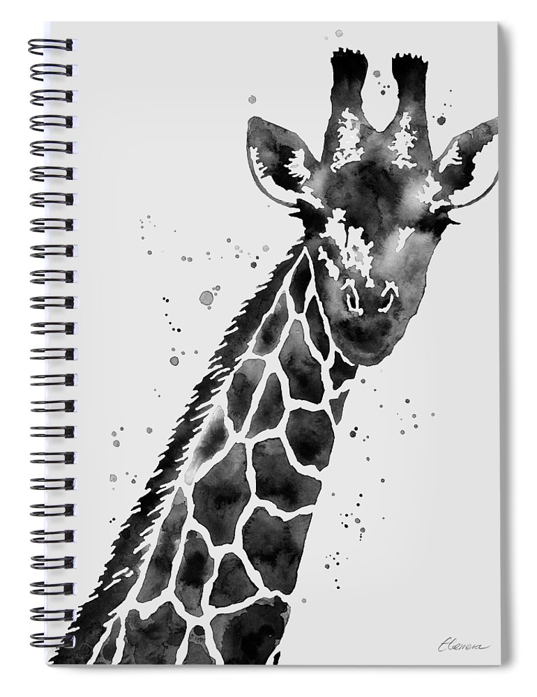 Giraffe Spiral Notebook featuring the painting Giraffe In Black And White by Hailey E Herrera