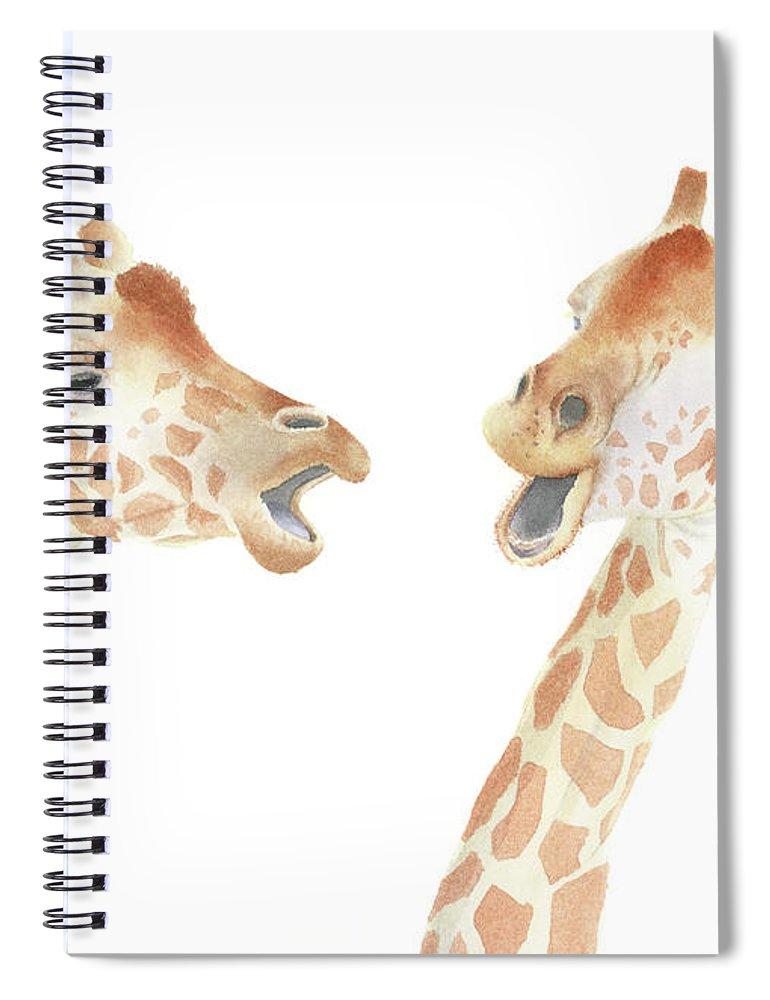 Giraffe Spiral Notebook featuring the painting Giraffe Watercolor by Zapista Zapista
