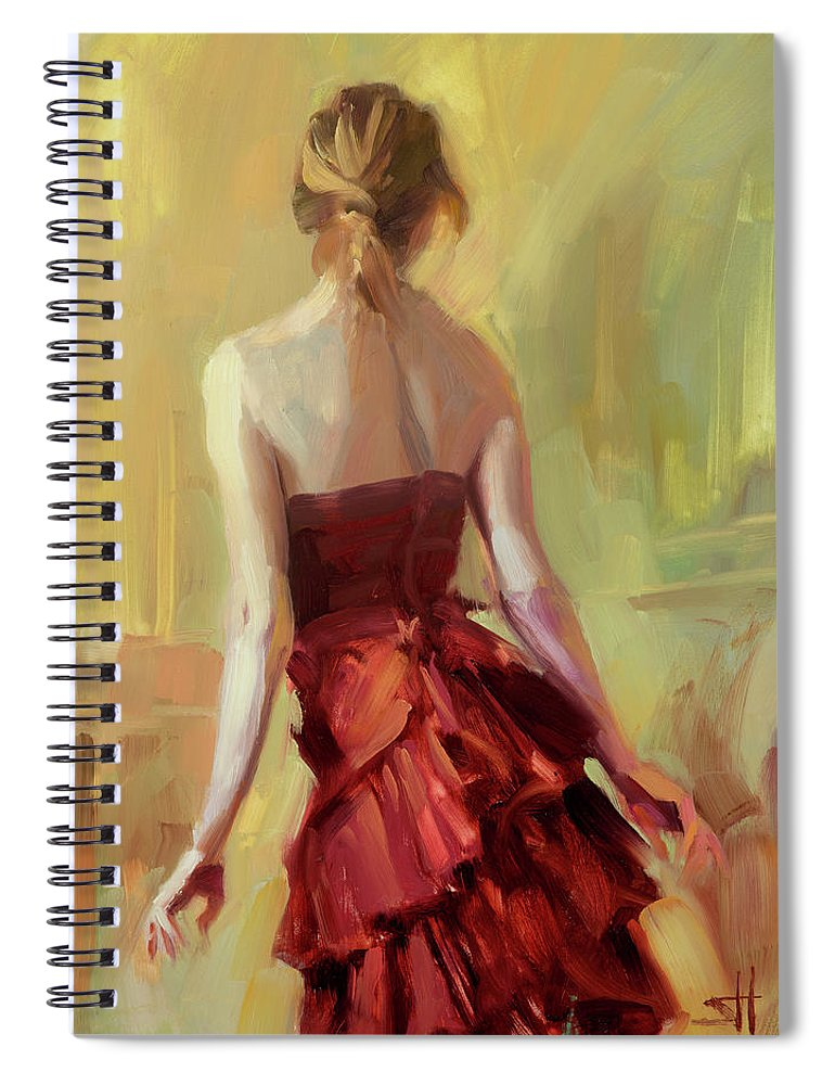 Girl Spiral Notebook featuring the painting Girl In A Copper Dress I by Steve Henderson