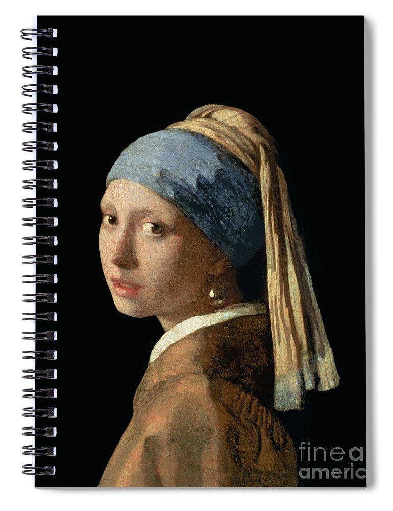 Jan Vermeer Spiral Notebook featuring the painting Girl with a Pearl Earring by Jan Vermeer