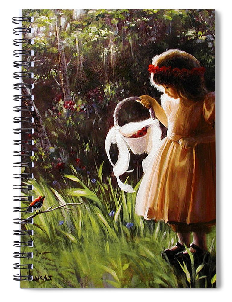 Spiral Notebook featuring the painting Girl with Basket of Roses by Stephen Lucas