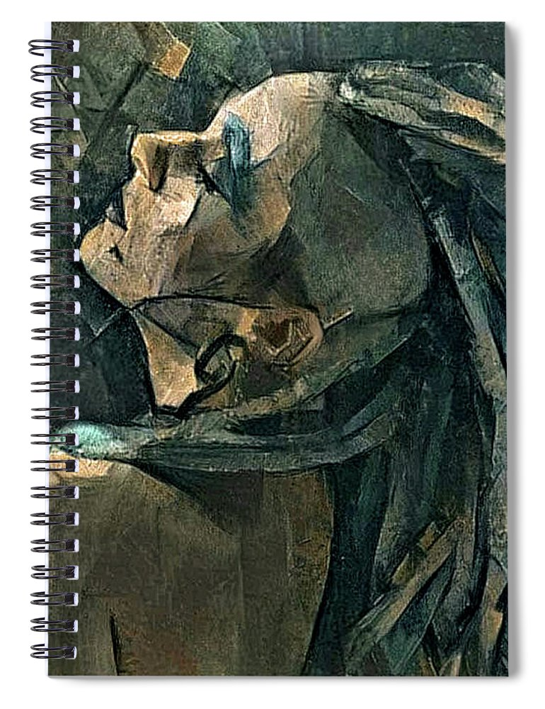 Dreadlocks Spiral Notebook featuring the mixed media Girl With The Dreadlocks by G Berry