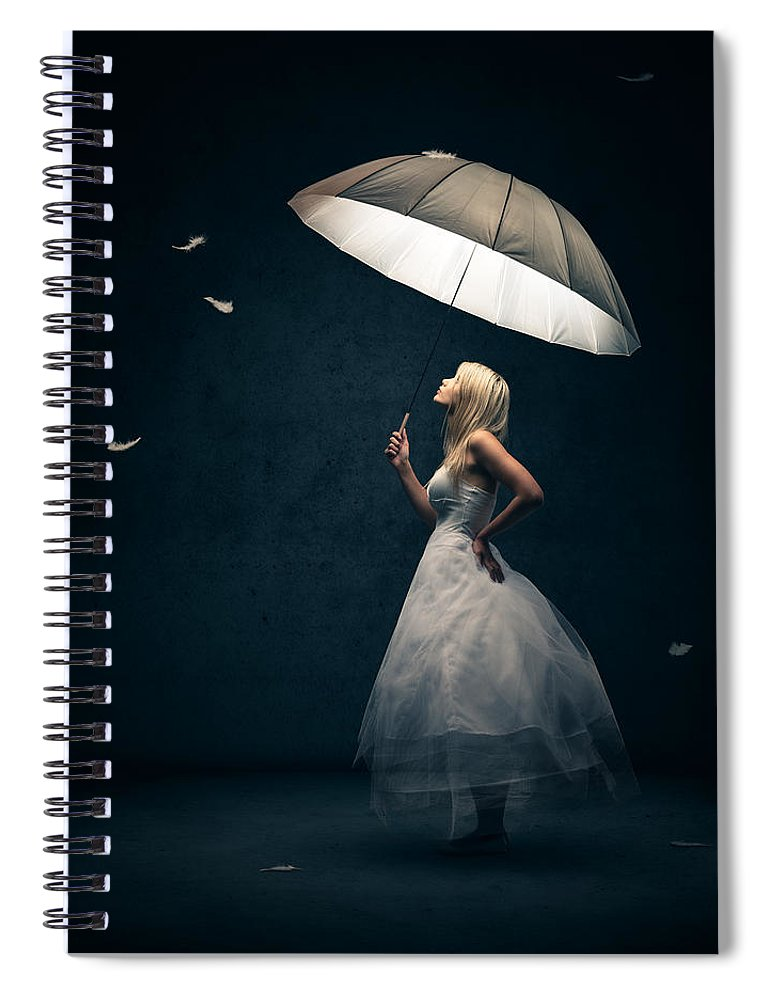 Girl Spiral Notebook featuring the photograph Girl With Umbrella And Falling Feathers by Johan Swanepoel