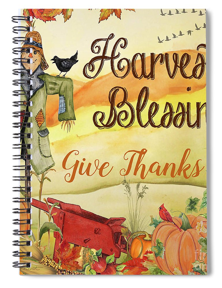 Thanksgiving Spiral Notebook featuring the painting Give Thanks-c by Jean Plout