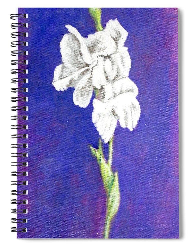 Spiral Notebook featuring the painting Gladiolus 2 by Usha Shantharam