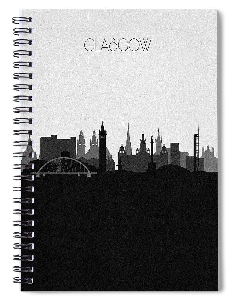 Glasgow Spiral Notebook featuring the digital art Glasgow Cityscape Art by Inspirowl Design