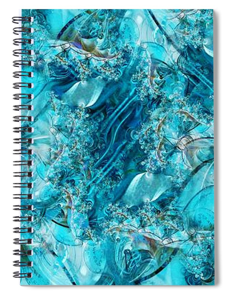 Collage Spiral Notebook featuring the digital art Glass Sea by Ron Bissett