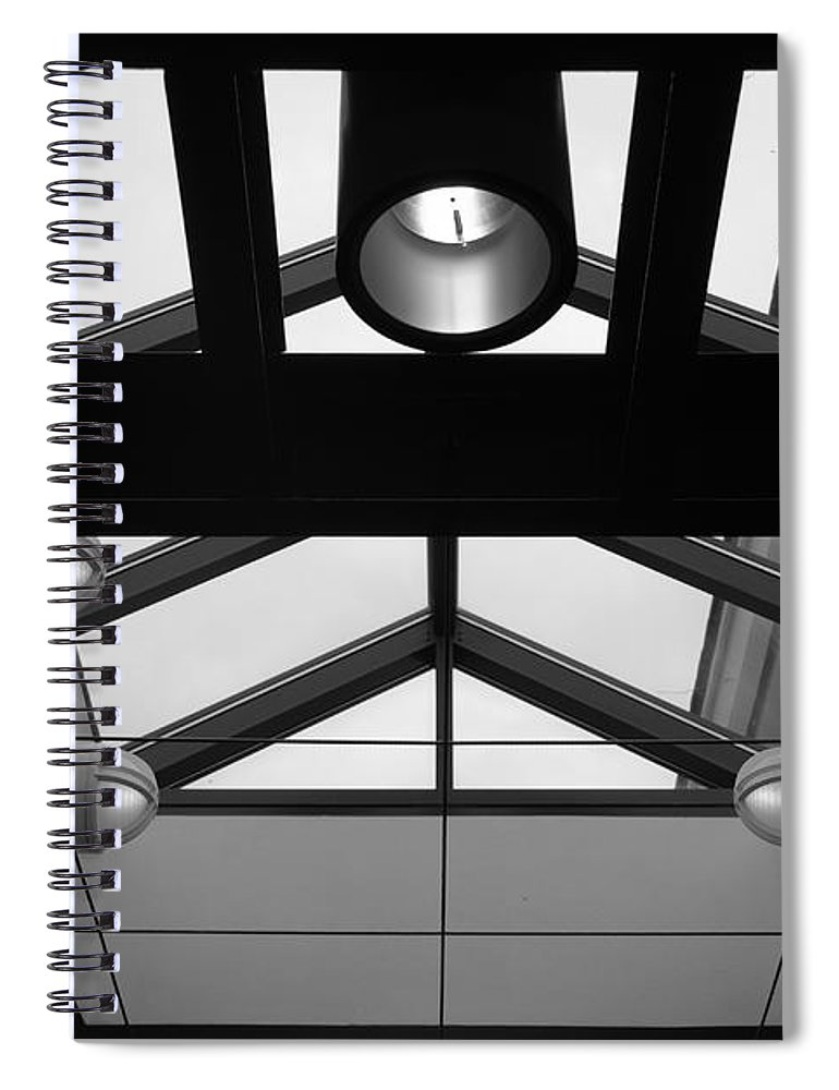Black And White Spiral Notebook featuring the photograph Glass Sky Lights by Rob Hans
