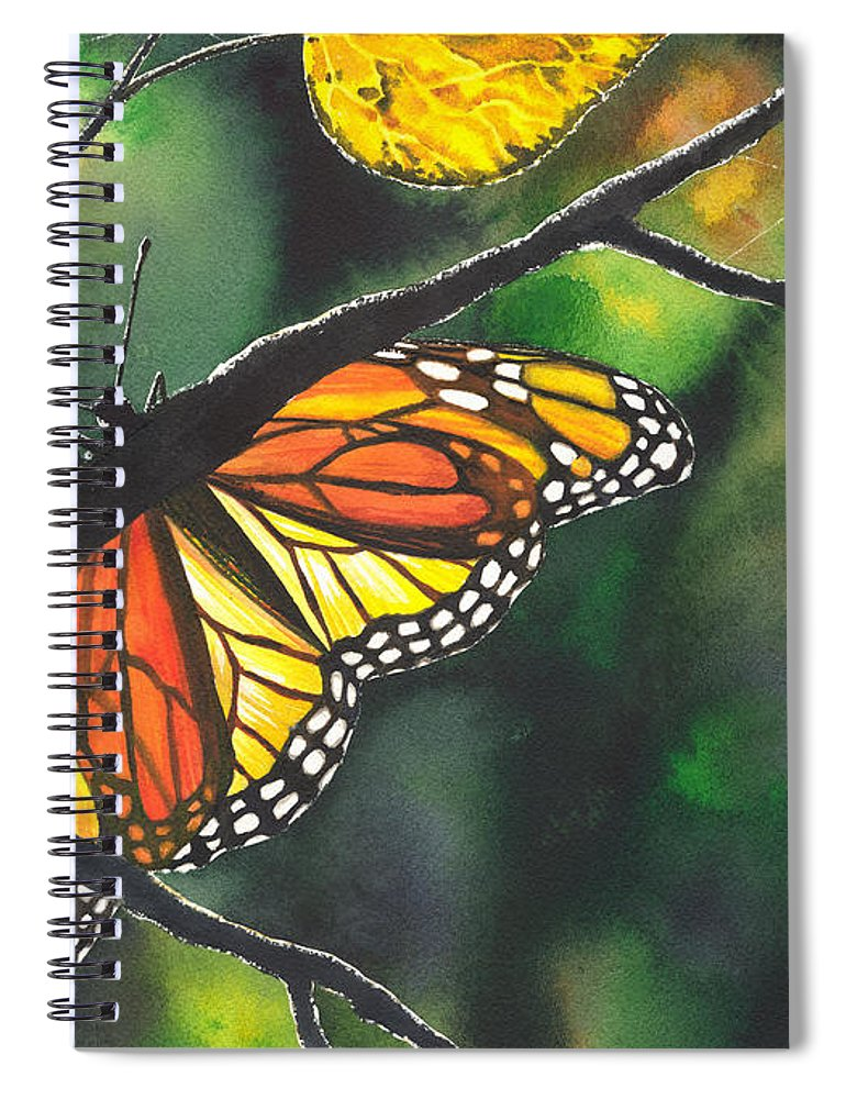 Butterfly Spiral Notebook featuring the painting Glow by Catherine G McElroy