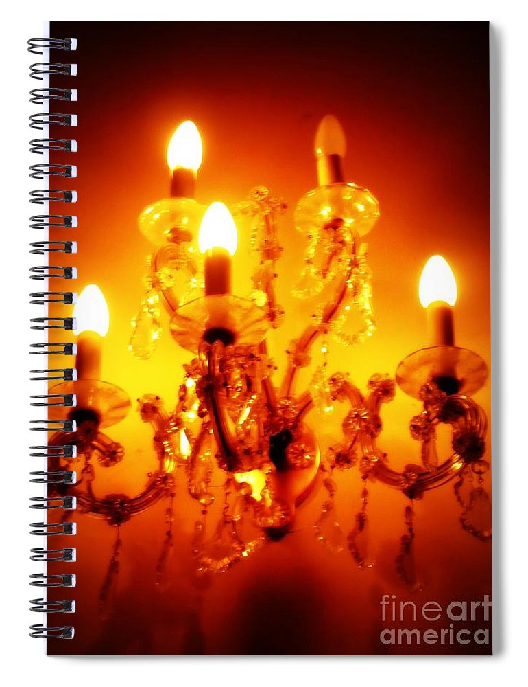 Dining Room Decor Spiral Notebook featuring the photograph Glowing Chandelier--Companion Piece by Carol Groenen