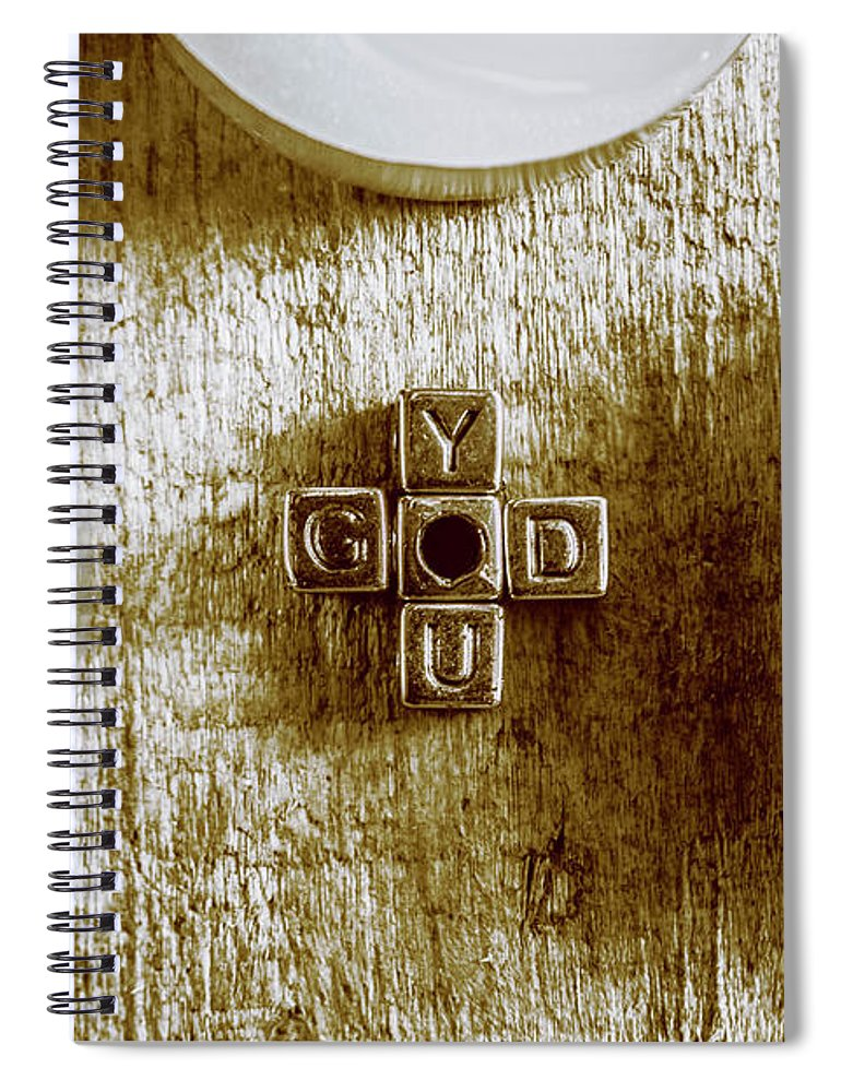 God Spiral Notebook featuring the photograph God Is You Metal Lettering Typography Near White Candles, Faith by Jorgo Photography - Wall Art Gallery