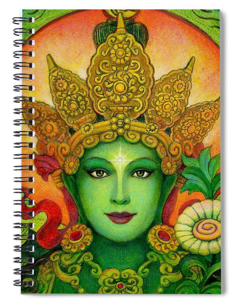 Goddess Spiral Notebook featuring the painting Goddess Green Tara's Face by Sue Halstenberg