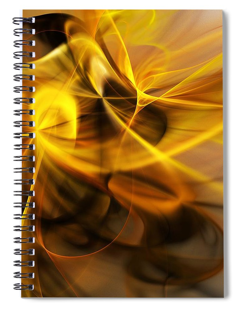 Fractal Spiral Notebook featuring the digital art Gold and Shadows by David Lane