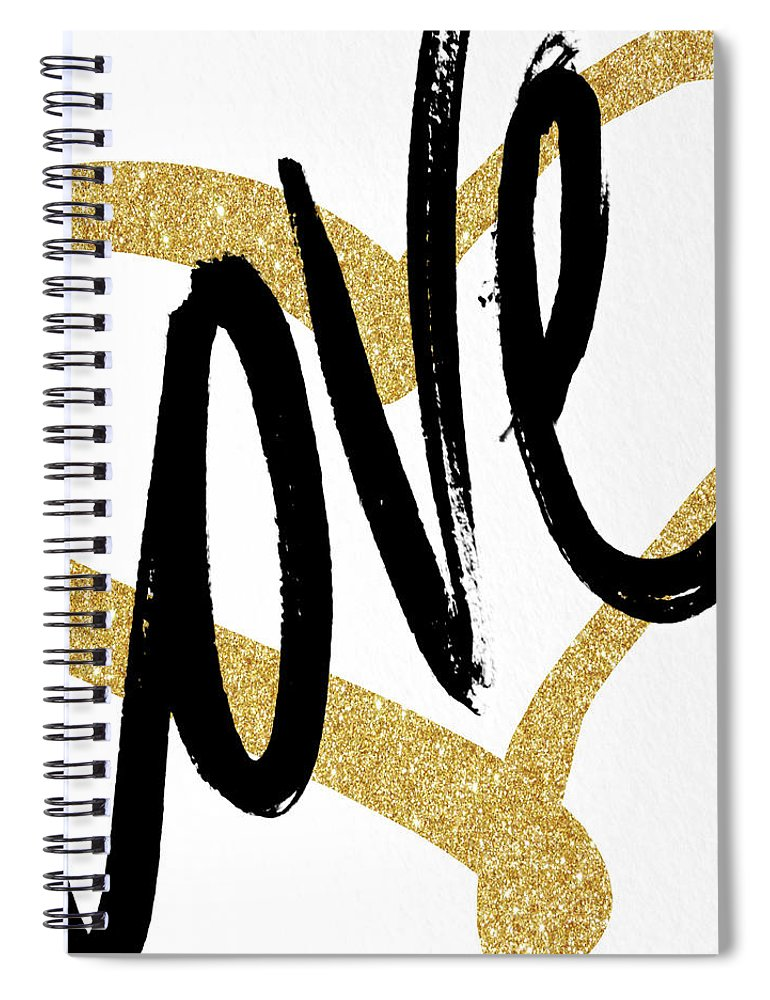 Gold Spiral Notebook featuring the painting Gold Heart Black Script Love by South Social Studio