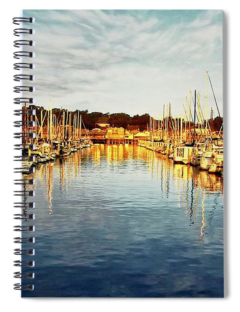 Sunrise Spiral Notebook featuring the photograph Gold Light, Monterey Marina by Zayne Diamond Photographic