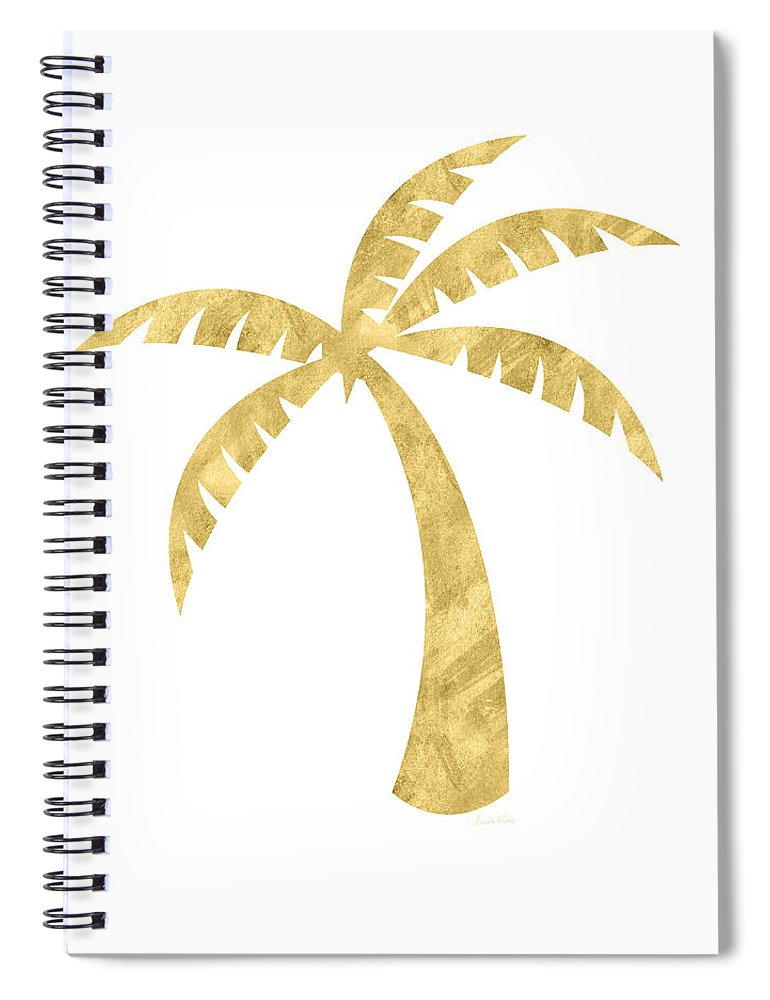 Palm Tree Spiral Notebook featuring the mixed media Gold Palm Tree- Art By Linda Woods by Linda Woods