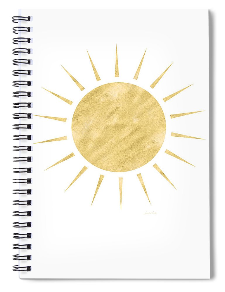 Sun Spiral Notebook featuring the mixed media Gold Sun- Art by Linda Woods by Linda Woods