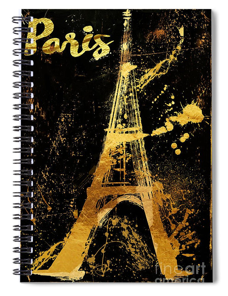 Eiffel Tower Spiral Notebook featuring the painting Golden Eiffel Tower Paris by Mindy Sommers