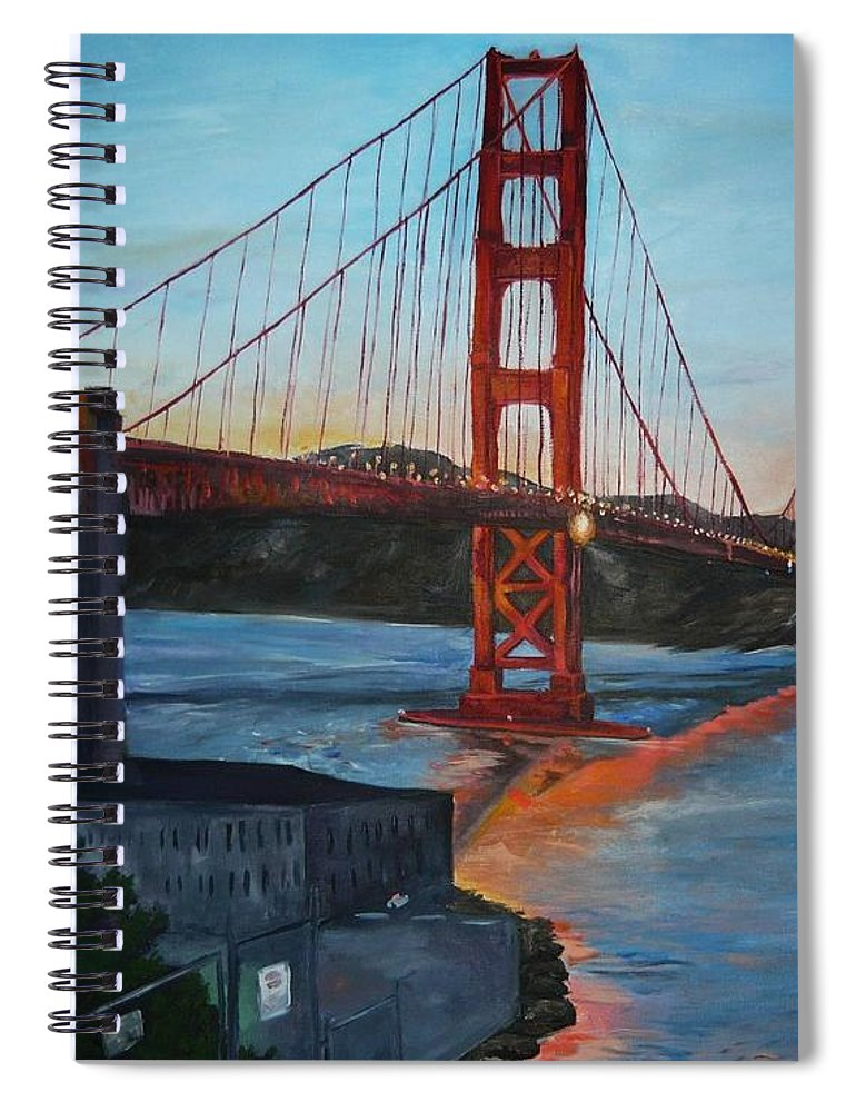 San Francisco Spiral Notebook featuring the painting Golden Gate by Travis Day