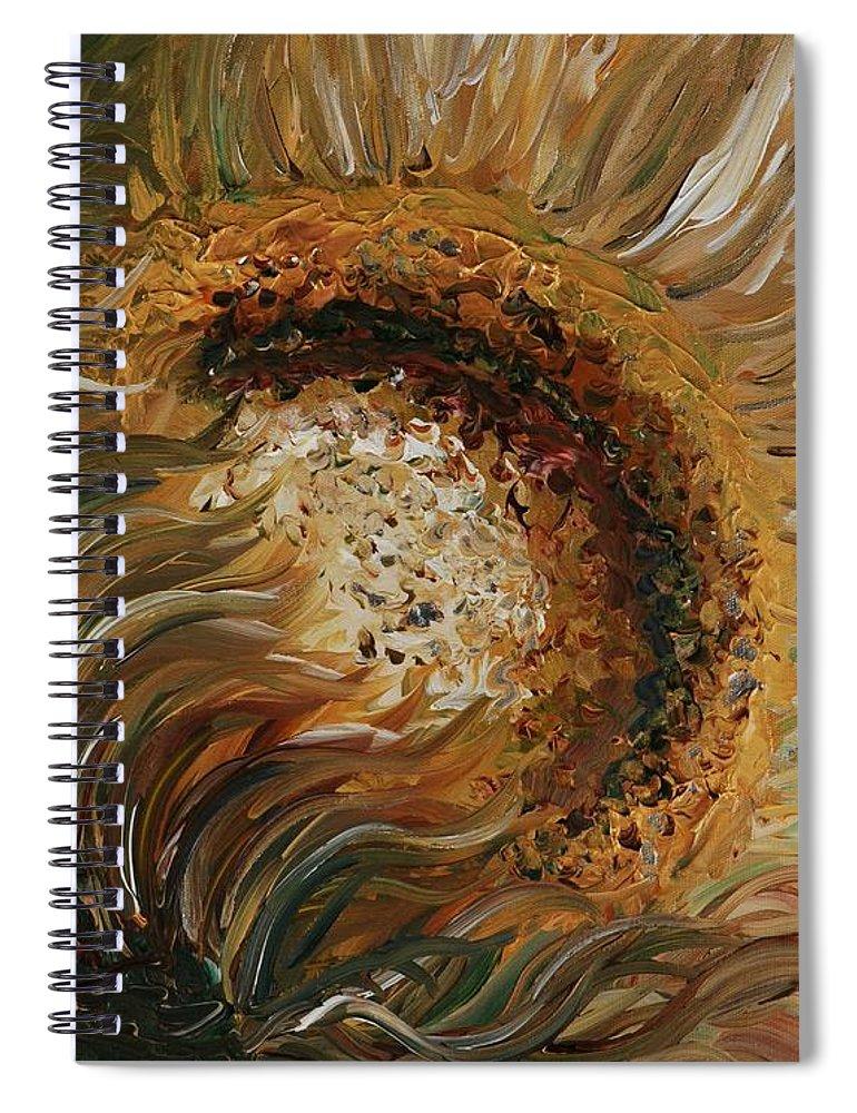 Sunflower Spiral Notebook featuring the painting Golden Sunflower by Nadine Rippelmeyer