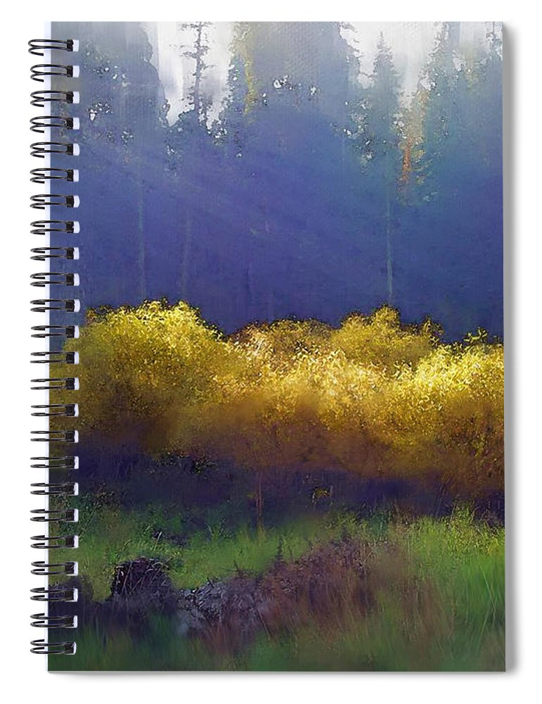 Landscape Spiral Notebook featuring the painting Golden Surprise by Stephen Lucas