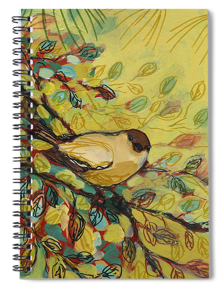 Bird Spiral Notebook featuring the painting Goldfinch Waiting by Jennifer Lommers