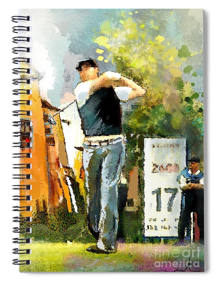 Golf Spiral Notebook featuring the painting Golf In Club Fontana Austria 01 Dyptic Part 01 by Miki De Goodaboom