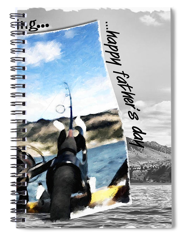 Father's Day Spiral Notebook featuring the digital art Gone Fishing Father's Day Card by Susan Kinney
