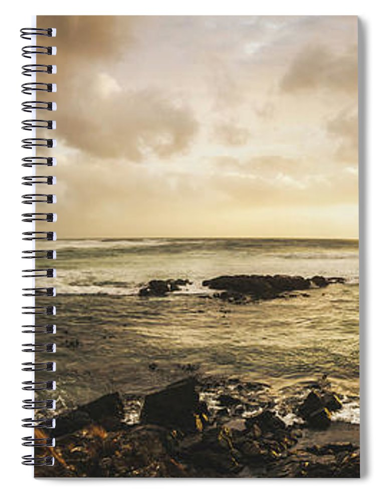 Beach Spiral Notebook featuring the photograph Goodbye Sunshine by Jorgo Photography - Wall Art Gallery