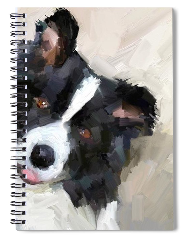 Border Collie Dog Sheepdog Spiral Notebook featuring the digital art Got any sheep? by Scott Waters