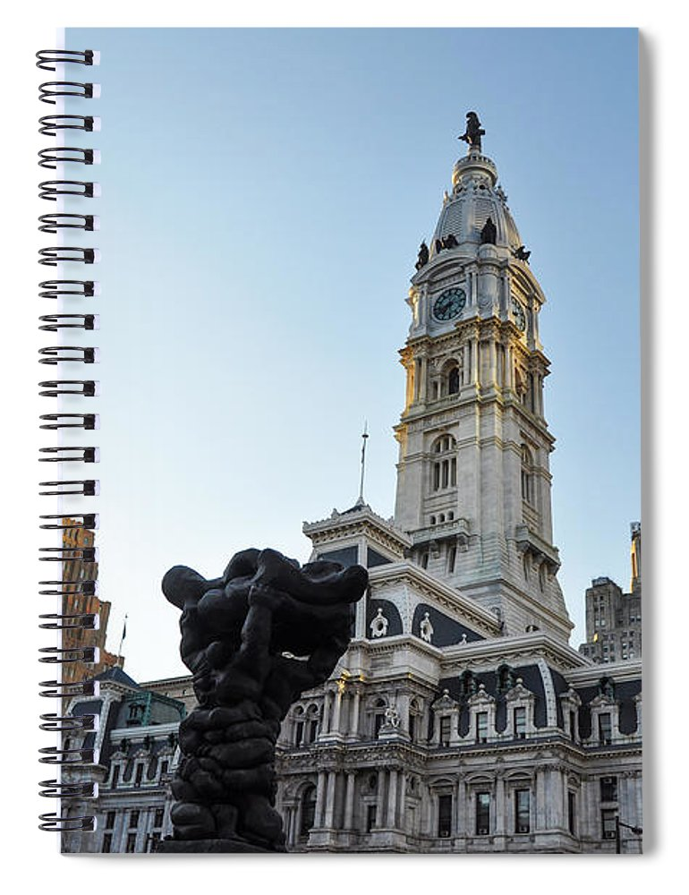 Government Spiral Notebook featuring the photograph Government Of The People And City Hall Philadelphia by Bill Cannon