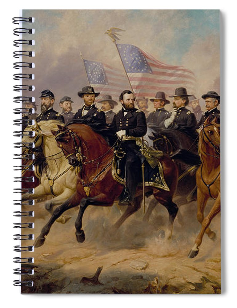 Grant Spiral Notebook featuring the painting Grant and His Generals by War Is Hell Store